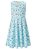 BFUSTYLE Girls Summer Dresses Beach Dresses for Girls Vacation Crew-Neck Fllower Skirt Twirly Dress 8t 9t (Light Blue Unicorn, 8-9 T)