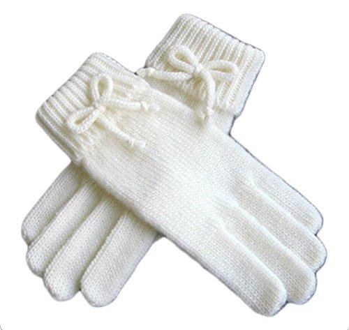 Winter Autumn Sweet Wool Gloves for Women Wool-lined Gloves (White)