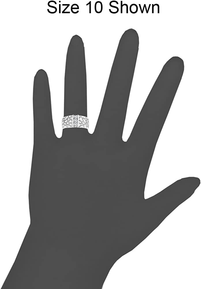 Nugget Band Style Men Guy Gent Ring Created CZ Stones White Rhodium Plated Metal