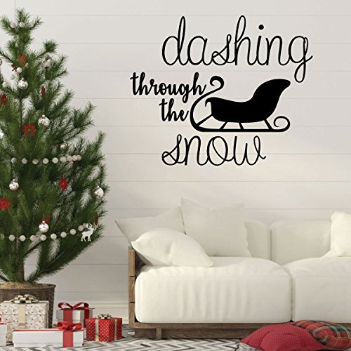 Christmas Wall Decal - Dashing Through The Snow With Sleigh Silhouette - Holiday Vinyl Stickers for Living Room or Home ()