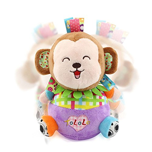 NEEDOON Cute Animal Monkey Tumbler Roly-Poly toy Early Education Baby Toy for Over 0 Months (Chime Poly Ball Roly)