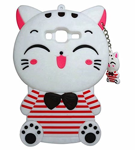 (Galaxy J1 Ace Cartoon Silicone Cover,Cute 3D Kitty Lucky Fortune Cat with Strip Design Phone Bag Soft Rubber Case for Samsung Galaxy J1)