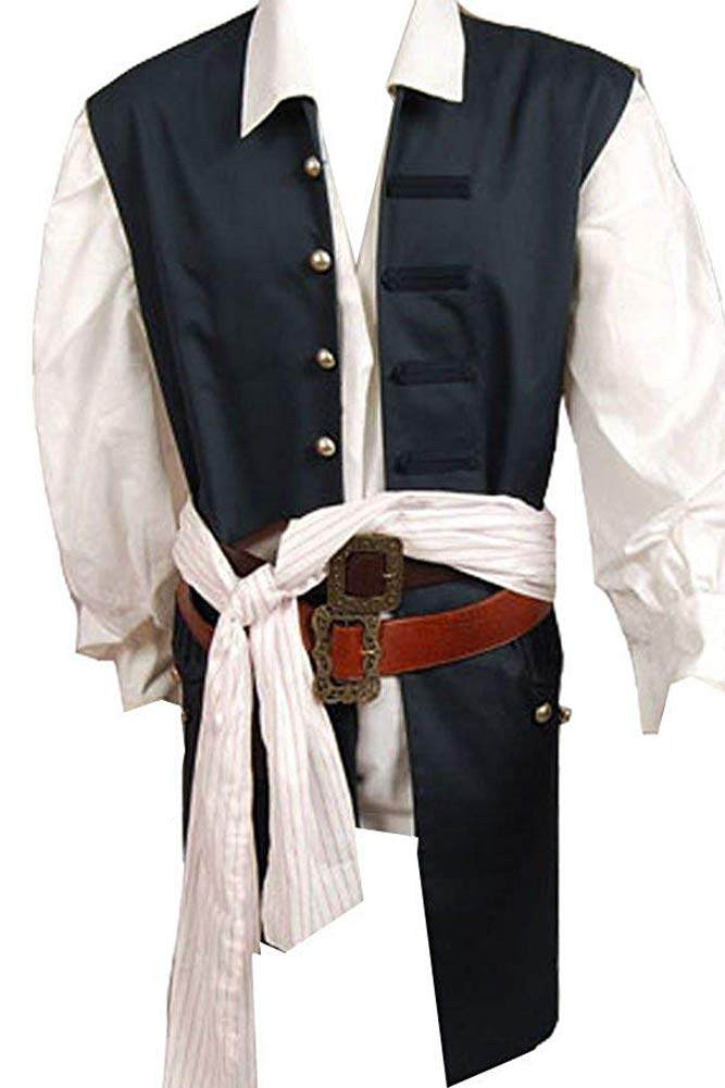 Cosplaysky Halloween Pirate Costume Pirates The Caribbean Jack Sparrow Vest X-Small (Only Vest)