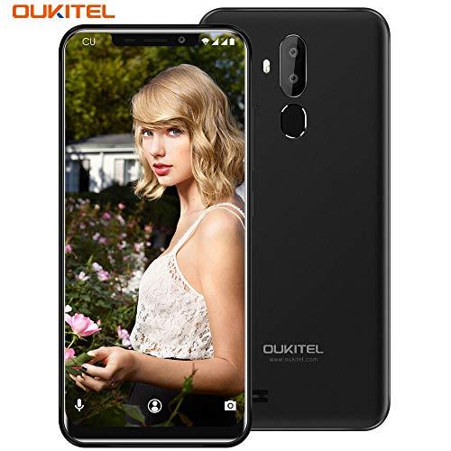 (OUKITEL C12 Unlocked Smartphone, 6.18''(19:9) U-Notch Screen, 2GB +16GB, Android 8.1 OS, MT6580 Ouad-Core, 8MP+2MP Cameras, Dual Sim, Face Fingerprint Recognition 3G Unlocked Cellphone- Black)