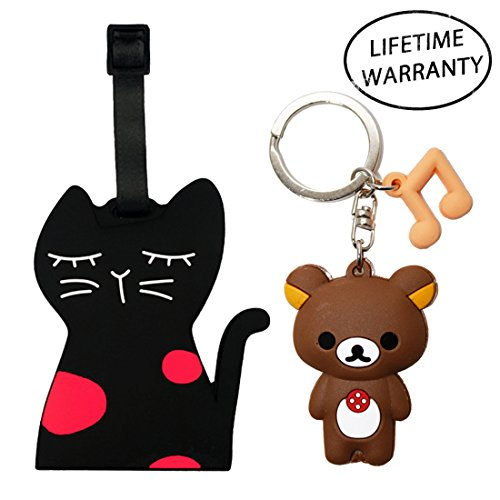 Price comparison product image DIYJewelryDepot Black Cat Luggage Travel Bag Tag + Rilakkuma Bear Anime Keychain