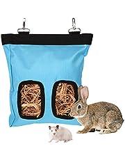 LUTER 28 x 25 x 2,5 cm świnka morska siano torba na podajnik torba królik siano wisząca torba na podajnik, idealna dla małych zwierząt domowych jadących na siano