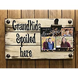 PHOTO HOLDER Grandkids Spoiled Here Picture Wall Frame Memo Board Reclaimed Sign with Clip Cream Wood Wedding Anniversary Gift for bride groom baby Home Decor *Grandma *I'll Love You Forever *Dogs