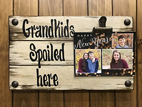 PHOTO HOLDER Grandkids Spoiled Here Picture Wall Frame Memo Board Reclaimed Sign with Clip Cream Wood Wedding Anniversary Gift for bride groom baby Home Decor *Grandma *I'll Love You Forever (Heart Frame Name Pendant)