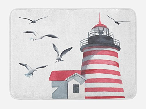 Bath Lighthouses (Ambesonne Lighthouse Bath Mat, Lighthouse and Seagulls on The Beach Navigational Aid Seaside Waterways Art, Plush Bathroom Decor Mat with Non Slip Backing, 29.5 W X 17.5 L Inches, Red Grey White)