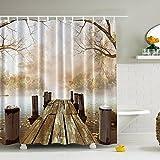 Shower Curtain Fabric Creative Print Waterproof & Antibacterial Bathroom Curtain with 12Hooks (Brown)
