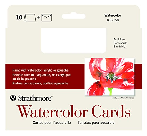 Strathmore Watercolor Cards, Full Size Cold Press, 10 Cards & Envelopes