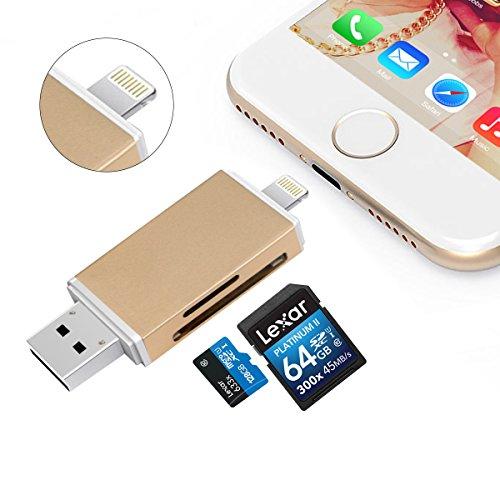 meory Card Reader, Micro SD/TF/SD Card Reader Adapter With Lightning, USB & Micro USB Interfaces, USB/Lightning Memory Card Reader for Android Device/Mac/PC/iPhone/iPad/IOS - Gold ()