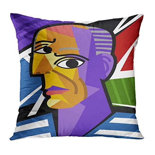 TOMKEYS Throw Pillow Cover Colorful Picasso Cubist Great Artist Portrait Painting Cubism Decorative Pillow Case Home Decor Square 18x18 Inches - Painting Cubist