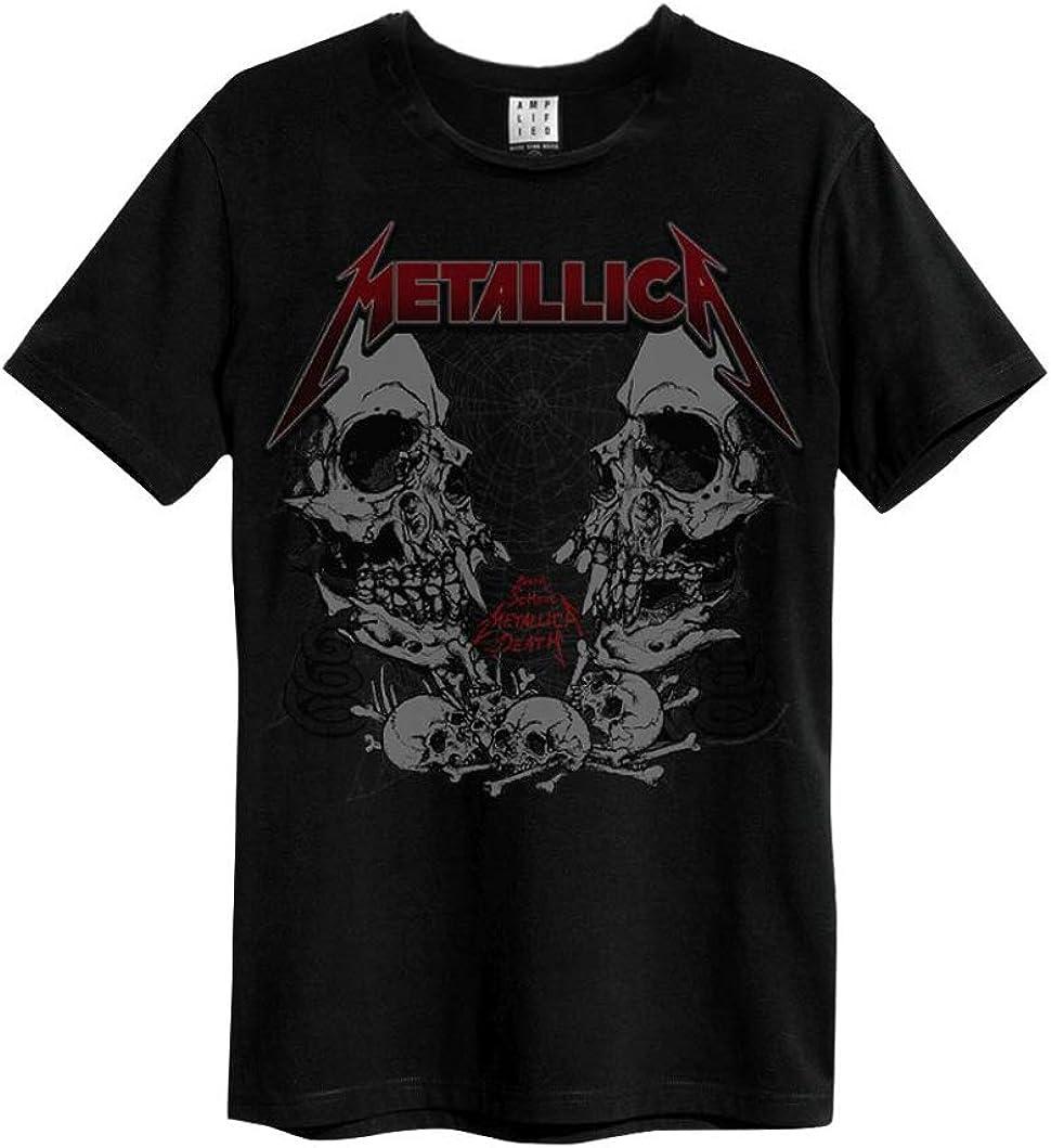 Amplified – Camiseta para hombre con logotipo de Metallicca Birth School (gris) (S-XL)