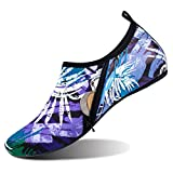 JIASUQI Summer Beach Pool Surfing Water Shoes for Women Leaf Purple US 9.5-10.5 Women,8.5-9 Men
