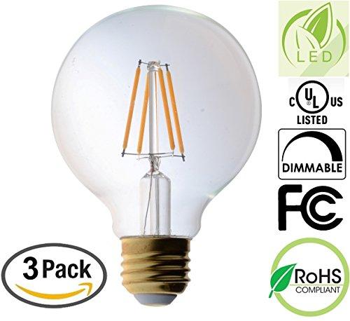 3 Pack Bioluz LED Pendent Light Bulb, Clear Filament LED G25 Globe 40 Watt Replacement (Uses 4.5 Watts) Warm White (2700K) LED Light Bulb 470 Lumens UL Listed & Great Vanity (40w Clear Globe)