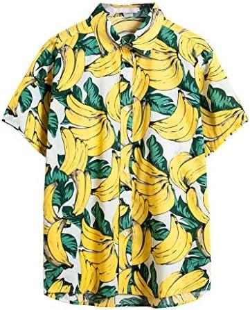 開襟シャツ メンズ Boybya ビーチシャツ 総柄 INS風 アロハシャツ カジュアル オシャレ バナナ柄 ハワイ風 夏服 超軽量 旅行 立っている襟 日焼け止め トップス トレンド 重ね着風 サーフィン ゆったり 通気快適 七分袖 速乾 目立つ