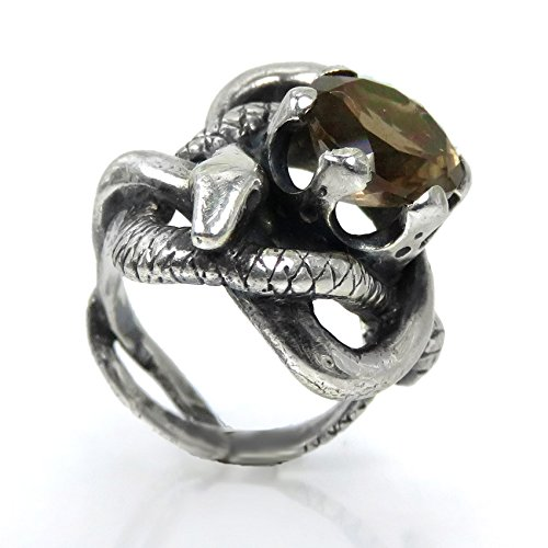 (Entwined Serpents Ring - Sculpted Sterling Silver Ring with Two Snakes and a Crown with Smoky Quartz)