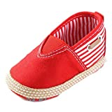 Fulltime(TM) New Born Baby Shoes Boys Casual Cute Solid Infant Anti-slip Shoes (6~12 Month, Red)