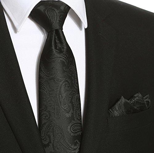 KissTies Extra Long Tie Set: Black Paisley Necktie + Hanky + Gift Box (63'' XL) by KissTies (Image #2)