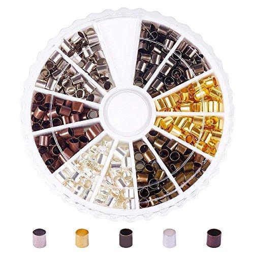 Pandahall 1 Box 420pcs 6 Colors 3mm Column Brass Tube Crimp Beads, Cadmium Free & Lead Free & Nickel Free