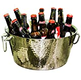 Image of BREKX Anchored Double Walled Hammered Steel Beverage Tub Wine Chiller, Large, Silver