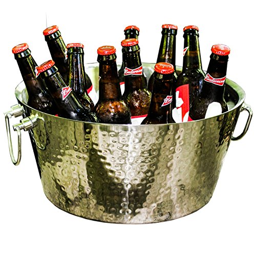 - BREKX Anchored Double Walled Hammered Steel Beverage Tub Wine Chiller, Large, Silver