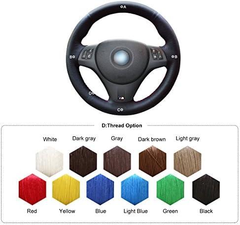 Leather+Red Mark Black Breathable Interior Accessories Eiseng DIY Sew Customized Steering Wheel Cover for 1 Series M3 2008-2013 E81 E82 E87 E88 2006-2011 3 Series E90 E91 E92 E93