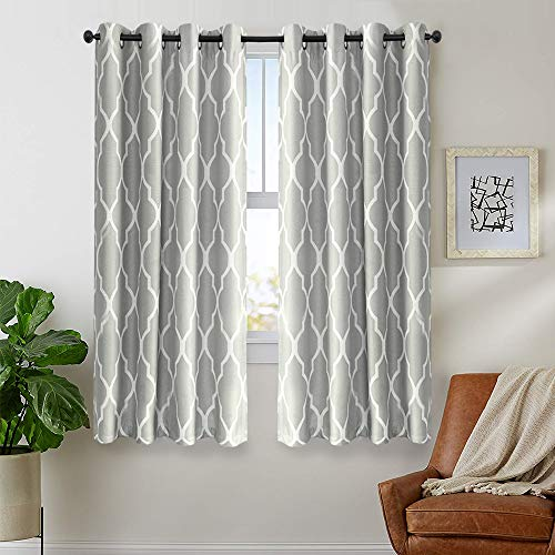 jinchan Grey Curtains 54 inch 2 Panel for Bedroom Grommet Home Kitchen Linen Texture Thermal Insulated Room Darkening Drapes Moroccan Tile Print Curtain Set Soft Gray on Flax