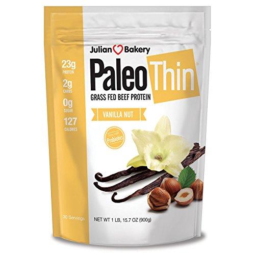 Julian Bakery Paleo Protein Grass-Fed Beef Powder with Probiotics, Vanilla Nut, 2 Pound