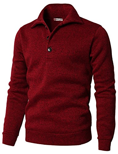 H2H Men's Slim Fit Turtleneck Basic Knit Sweater with Buttons RED US S/Asia M (CMTTL091)