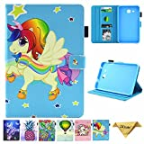 Samsung Galaxy Tab A 7.0 Case, SM-T280 Case, JZCreater PU Leather Folio Stand Case, Multi-Angle Viewing Wallet Case Cover for Galaxy Tab A 7.0 Tablet 2016(SM-T280/T285), Unicorn