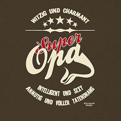 Großvater Fun-T-shirt als Top Geschenk mit GRATIS Urkunde - Super Opa Farbe: braun Gr: S