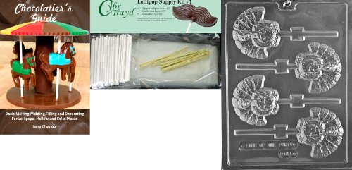 Cybrtrayd 45StK25T-T042 Turkey Lolly Thanksgiving Chocolate Mold with Chocolate Packaging Kit, Includes 25 Cello Bags, 25 Gold Twist Ties and Chocolate Molding Instructions ()