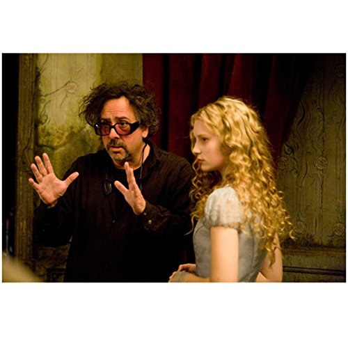 Alice in Wonderland Tim Burton with Mia Wasikowska on set 8 x 10 Inch Photo ()
