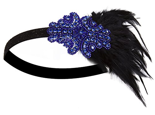 [Vijiv Feather Gatsby Accessories 20s Headpiece 1920s Flapper Headband Blue] (1920s Flapper Hairstyles)