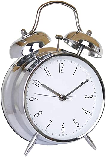 Dwnzjlchp Twin Bell Alarm Clock Night Light Backlight Silent for Home Bedroom Bedside Kids Student Table Clock Quartz Metal Battery Operated Color White, Size 11.6cm5.8cm17.1cm