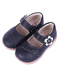 Bumud Girl's Genuine Leather First Walkers Round Toe Princess Dress Mary Jane Flat Shoes