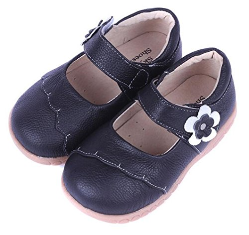 Bumud Girl's Genuine Leather First Walkers Round Toe Princess Dress Mary Jane Flat Shoes(Toddler/Little Kid) (7 M US Toddler, Black) (Jane High Top Mary)