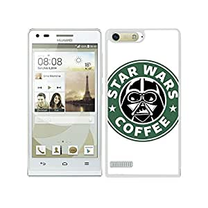 FUNDA CARCASA PARA HUAWEI P7 MINI DISEÑO DARTH VADER CAFÉ BORDE BLANCO