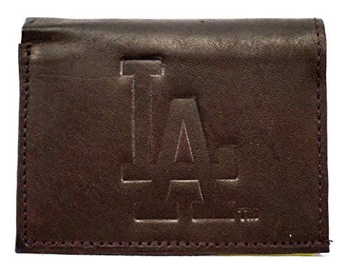 MLB Los Angeles Dodgers Tri-Fold Leather Wallet, (Los Angeles Dodgers Leather)