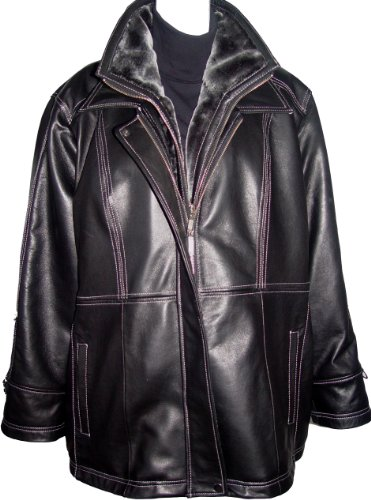 Paccilo Big and Tall Women 4022 3X Plus Size Stadium Leather Jacket
