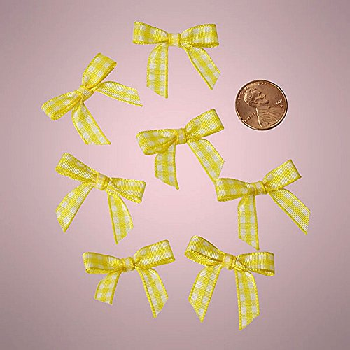 Mini Yellow and White Checkered Gingham Bows ()