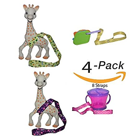 8 Straps Hnybaby Straps Baby Stroller Accessories Toy Strap For Baby Toys Bottles Sippy Cups (Blue/Black)