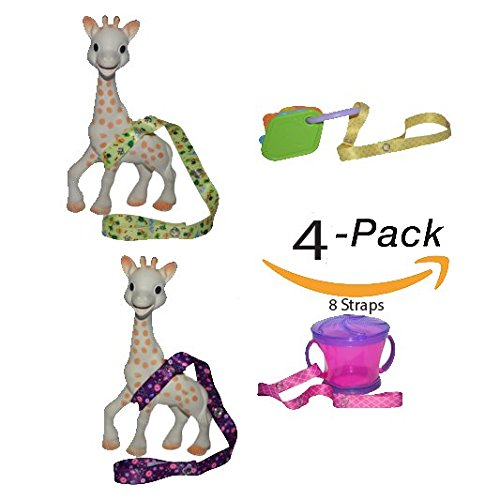 Yellow Stroller Accessories (4 Pack 8 Straps Hnybaby Straps Baby Stroller Accessories Toy Leash (Pink/Yellow))