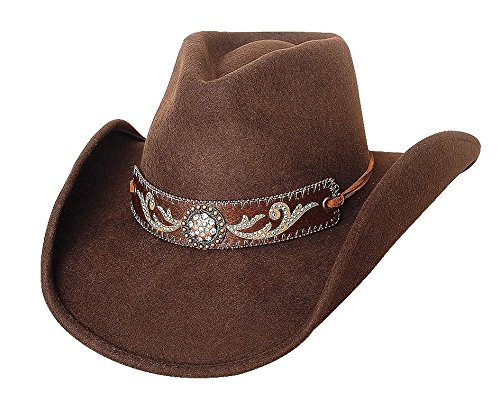 The Alamo Shantung Panama Traditional Straw Western Hat (Kids Small Size 6 3/4 = 20 1/2in Head Circumference, Black) ()
