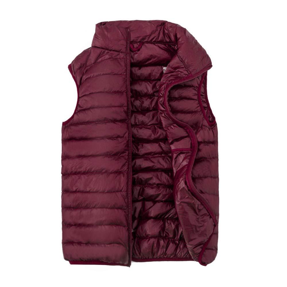 AmaSells Mens Winter Vest, Mens Solid Color Down Vest Zipper Warm Windproof Outerwear Winter Waistcoat Coats, Men's Lightweight Down Vest