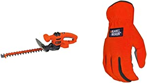 BLACK+DECKER Hedge Trimmer, Dual-Action Blade, 16-Inch with Easy-Fit All Purpose Glove (BEHTS125 & BD505L)
