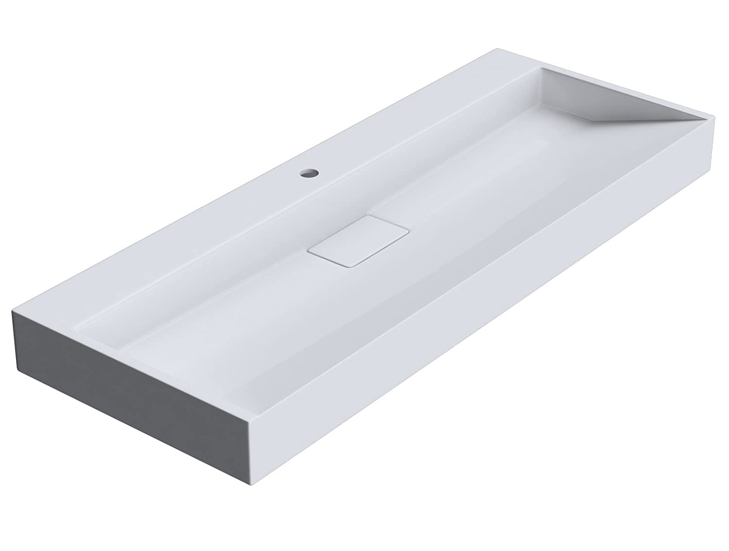 One Tap Hole 1200 x 460mm (WxD) Durovin Bathrooms Luxurious Cast Stone Resin Wash Basin   Wall Hung Or Counter Top Mount Sink No Tap Hole   Concealed Waste   900 x 460mm (WXD)