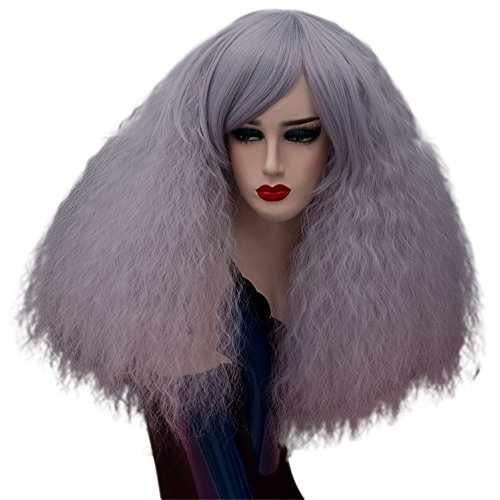 ELIM Fluffy Short Curly Wigs Cosplay Wigs Halloween Costume Wigs Synthetic Hair Oblique Bangs for Women with Wig Cap Z079N ()